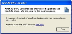 AutoCAD DWG Launcher error